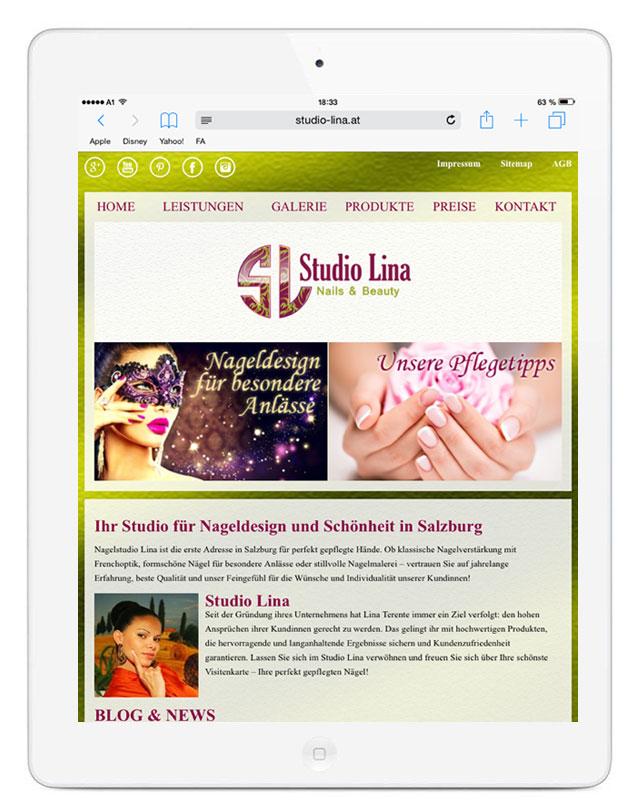 Portfolio Studio Lina 2 Eine responsive Webseite für Studio Lina in Salzburg